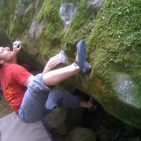 Photo taken at Carver Bridge Cliff Boulders by Spencer W. on 7/30/2011