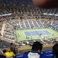 Photo taken at Arthur Ashe Stadium - USTA Billie Jean King National Tennis Center by Mike N. on 9/4/2012