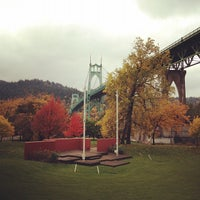 Photo taken at Cathedral Park by Kayvon T. on 11/7/2011