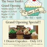 Photo taken at The Sweet Tooth - Cupcakery and Dessert Shop by Trevor G. on 1/6/2012