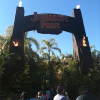Photo taken at Jurassic Park: The Ride by Andrea S. on 1/28/2012