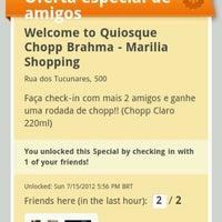 Photo taken at Quiosque Chopp Brahma by Fábio B. on 7/15/2012