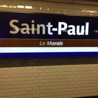 Photo taken at Métro Saint-Paul – Le Marais [1] by Sharlene D. on 7/1/2012