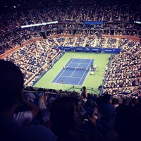 Photo taken at Arthur Ashe Stadium - USTA Billie Jean King National Tennis Center by christian b. on 9/1/2012