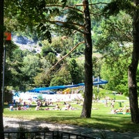 Photo taken at Freibad Obere Au by Ricardo F. on 6/2/2012