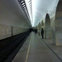 Photo taken at metro Kuznetsky Most by Lee on 4/6/2012