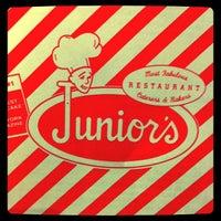 Photo taken at Junior's Restaurant & Bakery by Marcee L. on 4/29/2012