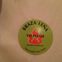 Photo taken at Braza Leña Brazilian Steakhouse by Mayhem W. on 5/6/2012