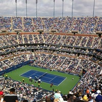 Photo taken at Arthur Ashe Stadium - USTA Billie Jean King National Tennis Center by Walid B. on 9/8/2012