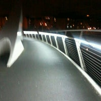 Photo taken at Tradeston-Broomielaw Bridge (Squiggly) by Linda W. on 4/21/2012
