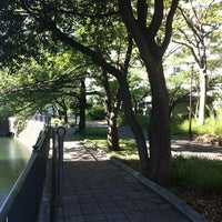 Photo taken at 帷子川公園 by Nao on 8/25/2012