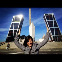 Photo taken at Puerta de Europa (Torres KIO) by Michael P. on 2/2/2012