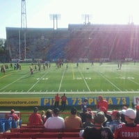 Photo taken at McMahon Stadium by Jason T. on 7/29/2012