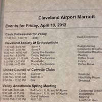 Photo taken at Cleveland Airport Marriott by Brian I. on 4/13/2012