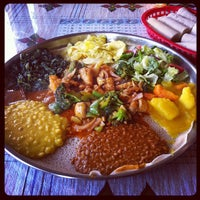 Photo taken at Queen Sheba Ethopian Restaurant by Crystal C. on 5/26/2012