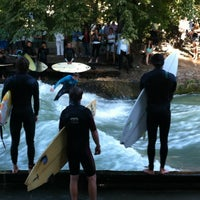 Photo taken at Eisbach Wave by Svetlana N. on 8/17/2012