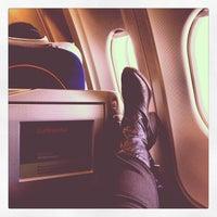 Photo taken at Lufthansa Flight LH 409 by Cynthia D. on 5/22/2012