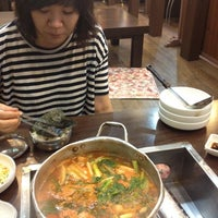Photo taken at 주문진 생태찌개 by Yejin on 8/21/2012