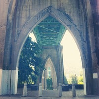 Photo taken at Cathedral Park by Meredith M. on 8/13/2012