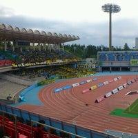 Photo taken at Todoroki Athletics Stadium by keiichi a. on 5/12/2012