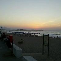 Photo taken at Rethymno Beach by Katerina G. on 7/31/2012