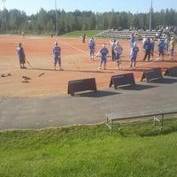 Photo taken at Kiimingin Pesäpallostadion by Pekka T. on 8/19/2012