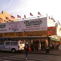 Photo taken at Nathan's Famous by Tracey J. on 7/12/2012