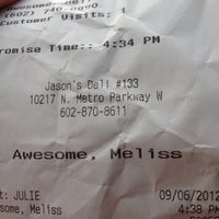Photo taken at Jason's Deli by Melissa F. on 9/6/2012