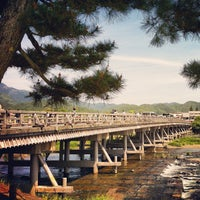 Photo taken at Togetsu-kyo Bridge by にゃおすけ on 5/13/2012