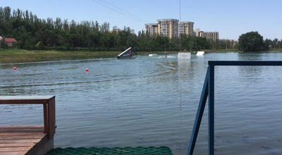 "Photo of Lake cable park ""on the wake"" at Kyrgyzstan"