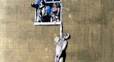 "Photo of Street Art Banksy's ""Well-Hung Lover"" at Park St, Bristol, United Kingdom"