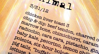 Photo of American Restaurant Animal at 435 N. Fairfax Ave., Los Angeles, CA 90036, United States