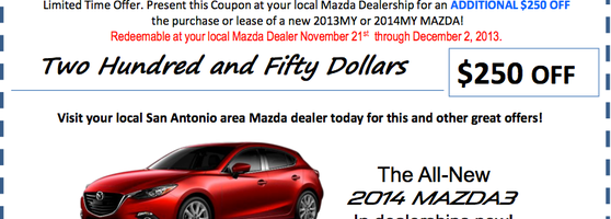 Take Advantage Of Our $250 BONUS CASH On Your 2013 Or 2014 Mazda Until  December 2nd. Hurry In Today!