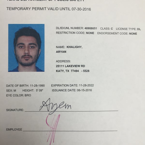 Photos at texas dps driver 39 s license office 23 tips for Texas temporary drivers license template