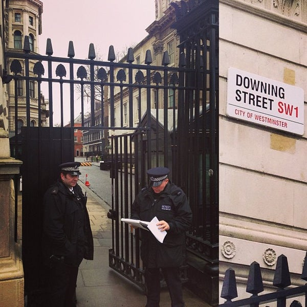 Photo taken at 10 Downing Street by Peter B. on 1/29/2013