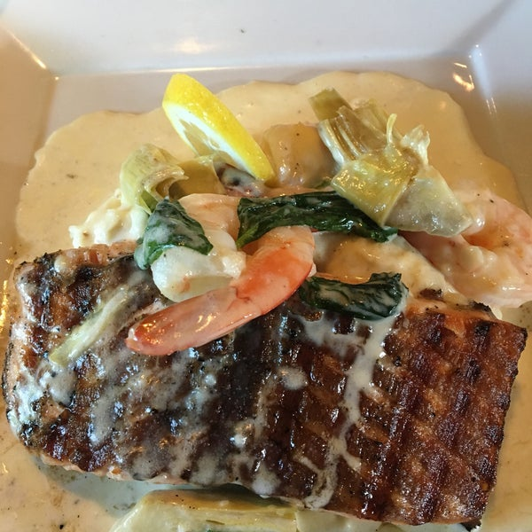 Salmon and shrimp, Ribeye steak, Sweet Tea Sangria, Seasonal fruit tart