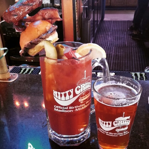 If you like bloody marys, try the brunchzilla. A liter of bloody mary, and a 16 oz beer topped with a burger and other munchies. Just be sure to take your time finishing it. It's a beast!