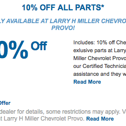 Get 10% Off On All Parts, Only At Larry H. Miller Chevrolet Provo