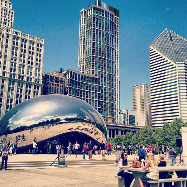 Photo taken at Cloud Gate by Anish Kapoor by Evan P. on 5/20/2013
