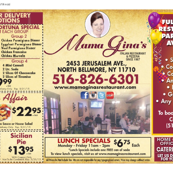 Many promotions offered! View their specials today below! View their menu at: www.mamaginasrestaurant.com