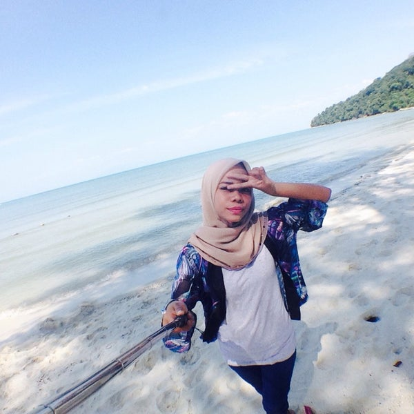 Photo taken at Teluk Bahang Beach by cik y. on 3/3/2016