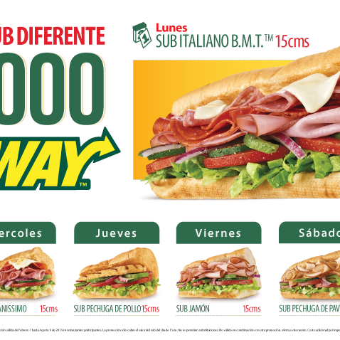 Subway centenario sandwich place for Subway colombia
