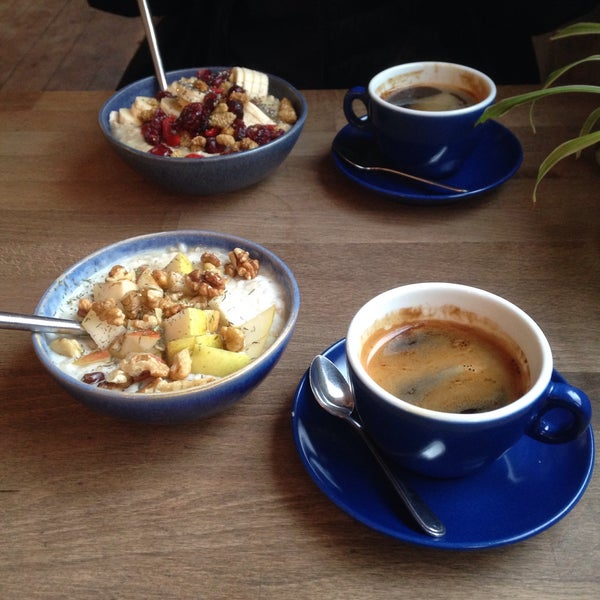 Unusual and taste porridge with goat cheese and good coffee. Like this.