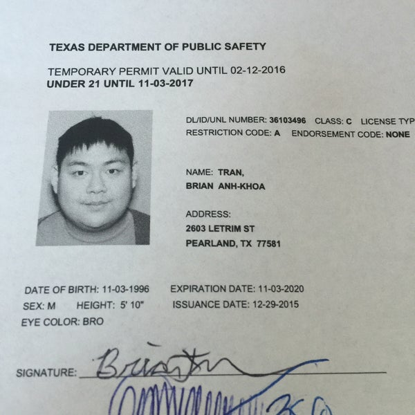 Photos at texas department of public safety southbelt for Texas temporary drivers license template