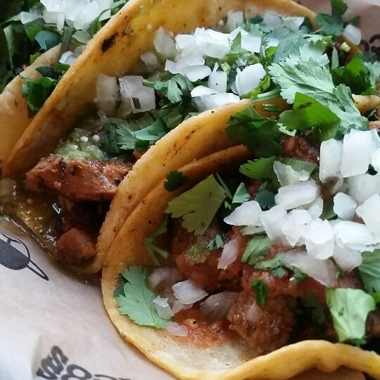 Soft tacos - chicken and Carne asada. Horchata...very cinnamony.  Hi top and counter seating is limited.