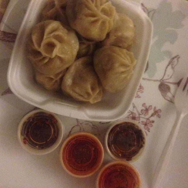 beef momo (dumplings) w/ hot oil and chill sauce. (Take out)
