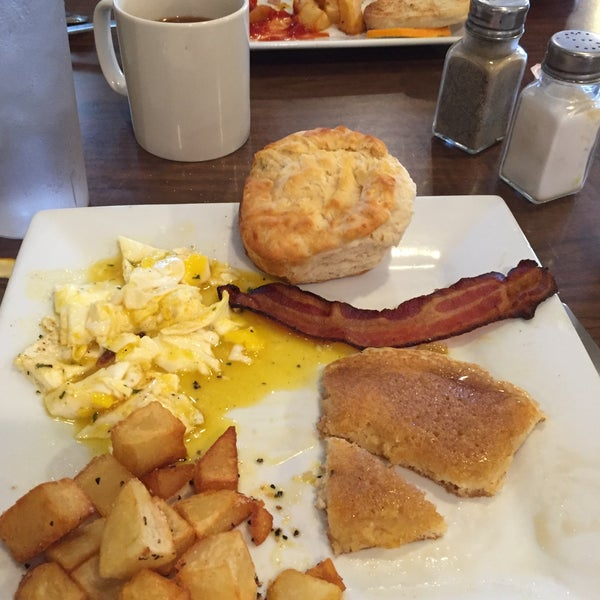 Awesome breakfast!!  I had the Landlubbers- 2 eggs, home fries, bacon, 1 pancake and a wonderful biscuit!  Yum!