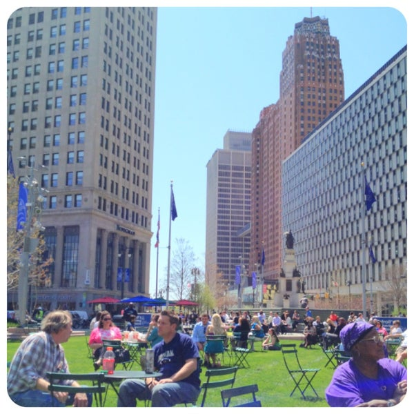 Photo taken at Campus Martius by Jennifer L. on 5/1/2013