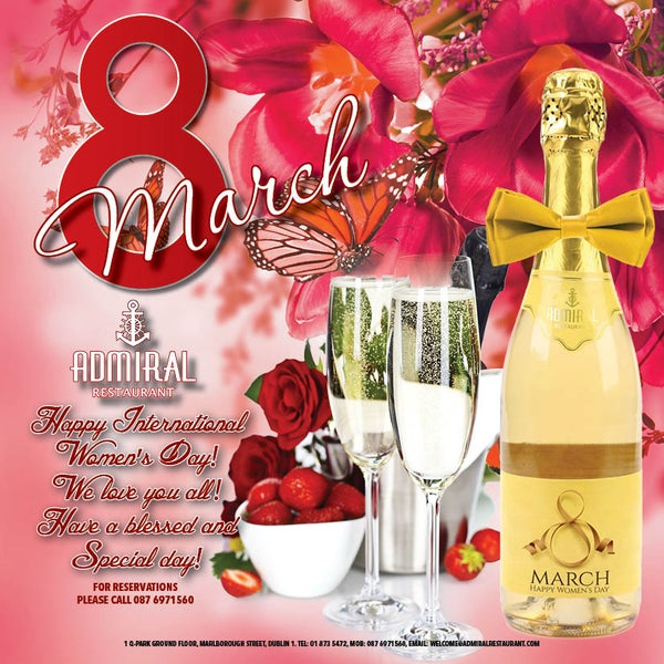 Дорогие наши и Любимые Женщины! Ресторан Admiral поздравляет вас с наступающим праздником 8 Марта!