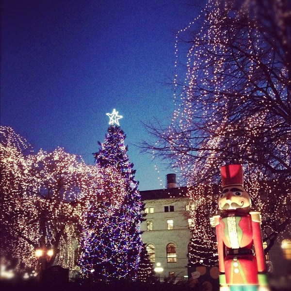 Photo taken at Rice Park by J G. on 12/4/2012